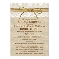 Ivory Lace & Rustic Twine Bow Burlap Bridal Shower Personalized Invitation