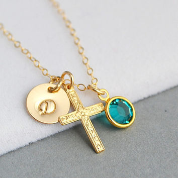 Cross Initial Necklace, Personalized Gold Necklace, Cross Necklace with Initial, Personalized Birthstone Necklace