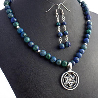 Star of David Azurite Malachite Necklace Earrings Set