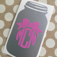 Mason Jar Monogram Decal | Southern Mason Jar Monogram | Southern Charm Decals | Country Girl Decal | Southern Decal | Preppy Decal | Cute