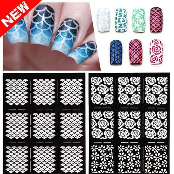 ONETOW 1sheet New Reusable Stamping Nail Art Hollow Stickers Black Vinyls Irregular Grid Pattern Template Stencil Guide Manicure Tools