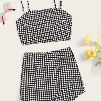Knot Back Houndstooth Cami Top and Wrap Shorts Set