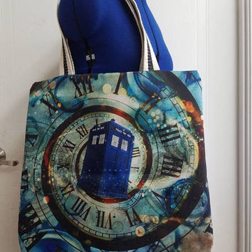 Doctor - who - tardis - police - box - geek - chic - comicon -  kitschy  - funky - canvas - lined - beach - bag - purse - tote