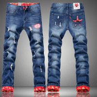 Winter Stylish Weathered Men Pants Korean Jeans [6528535491]