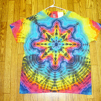 #XL39 Tie Dye Size XL Rainbow Cosmic Star Short Sleeve Tie Dye Shirt