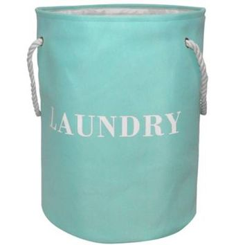"""Laundry"" Rope Handle Hamper in Blue"