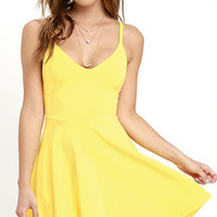 Meet Cute Yellow Skater Dress