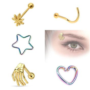 4/5pcs Lot Mix Surgical Steel Heart/Star/Palm/Maple Leaf Screw Tongue Rings Nose Ear Lip Eyebow Studs Piercing Jewelry