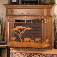Wild Savannah Elephant Decorative Metal Fireplace Screen