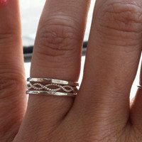 Set of 3 rings, infinity twist 2 thick hammered rings Sterling Silver Stacking Rings. Select any size