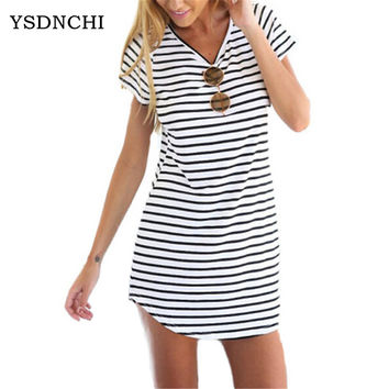Summer Female Sundress O Neck White Black Striped Loose Mini Dress Woman Beach Knee Length Dress Plus Size Women Sexy Robe S200