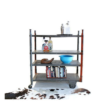 Vintage Industrial Cart - Steel - Rolling Shelf - Heavy Gauge Factory Cart - Storage - Urban Industrial Decor - Adjustable Shelving