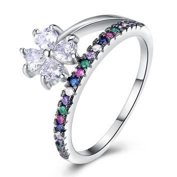 925 Sterling Silver Ring Fashion trend female sterling silver composite pink zircon ring