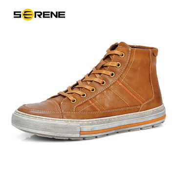 SERENE 2017 Men Shoes Nubuck Leather Lace-Up Flats Fur Boot Vintage Design Italian Techonology Boots Casual Botas Plus size 3215