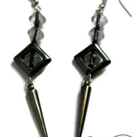 Rocker Chic Hematite Dangle Earrings - Glam Rock, Punk, Glam Goth - Edgy, Gunmetal, Spikes, Silver, Black Drop Earring, Gifts under 20, Long