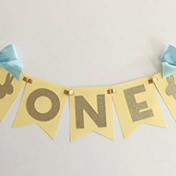 pastel Yellow Bunny High Chair Banner with Light Blue Bows - 1st Birthday. First Birthday Decorations. ONE High Chair Banner. Some Bunny is One!