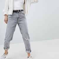 Bershka Mom Jean In Grey at asos.com