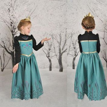 PEAPIX3 Girls Kids Princess Frozen Elsa Anna Long Sleeve Cosplay Party Fancy Gown Dress = 1945854596