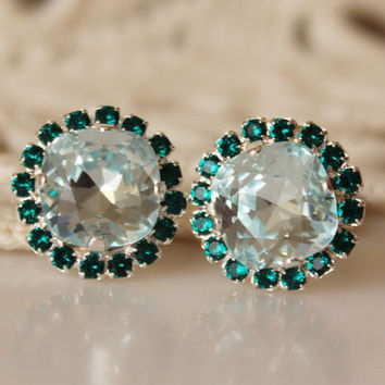 Ice Blue and Emerald... Swarovski Crystal... Cushion Cut Diamond... Emerald Halo Square Rhinestone Stud Earrings... Light Aqua
