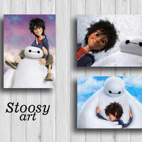baymax print set of 3 disney wall decor hiro hamada disney nursery big hero 6