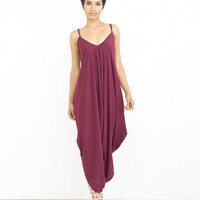 CHICK DOWNTOWN Harem Jumpsuit in Wine at FLYJANE