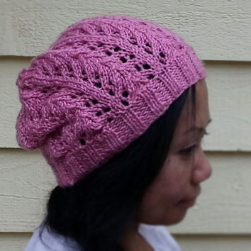 Hand Knit Leaf Lace Beanie/Hat (Fits most children and adults 10+) Choose from a Variety of Colors