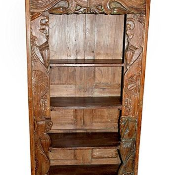 Mogulinterior Antique Bookcase Hand Carved Chakra Borders Wooden Bookshelf