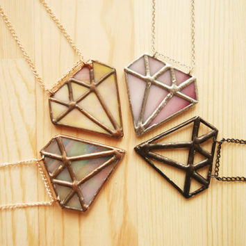 Diamond Necklace / Stained Glass Jewelry / Colorful Pendant / Contemporary Jewelry / Trendy Jewelry / Geometric Stained Glass / Gift for Her