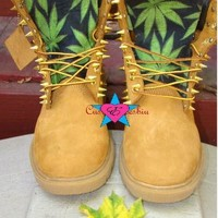 Custom Spiked Timberland Cannabis Weed Boots