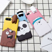 Cute 3D Toys Bears Brothers Phone Cases For Iphone 6 6S 6Plus 7 7Plus Cute Cartoon Soft Silicon Cas