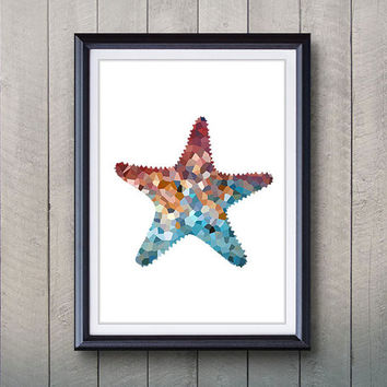 Starfish Print - Home Living - Star Fish  Asteroidea Ocean Animal Painting - Wall Art - Wall Decor - Home Decor, House Warming Gifts