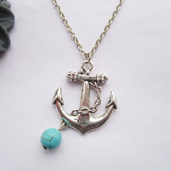 necklaceantique silver anchor and turquoise&alloy by lightenme