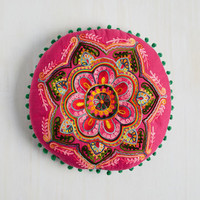 Boho At This Invigorate Pillow in Hibiscus by Karma Living from ModCloth