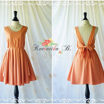 A Party V Charming Dress Prom Party Dresses Pale Tangerine Cocktail Dress Orange Wedding Bridesmaid Dress Tangerine Backless DRess XS-XL