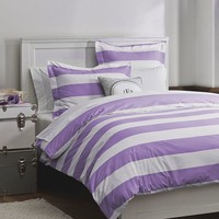 Cottage Stripe Duvet Cover + Sham, Lavender