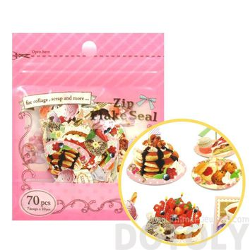 Pancakes Ice Cream Sweets Shaped Food Themed Sticker Flake Seal Pack From Japan | 70 Pieces