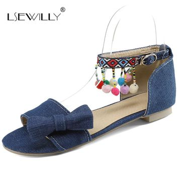Lsewilly Newest 2018 Spring Summer Women Flat Sandals Ankle Strap Bowtie Shoes Women Peep Toe Buckle Sandals Big Size 32-48 S018