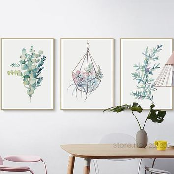 Succulent Plants Nordic Poster Leaf Flower Wall Art Posters And Prints Canvas Painting Cactus Print Cuadros Affiche Unframed