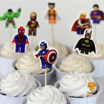 96pcs LEGO The Avengers superman batman Iron Man cake toppers cupcake picks cases kids birthday party decoration baby shower