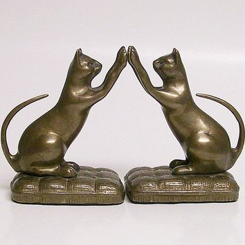 Playful Cats Vintage Brass Bookends by VintageShelfAndWall on Etsy