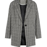 Monochrome Diamond Print Boyfriend Coat