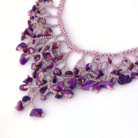 Purple Necklace. Bridesmaid Necklace. Wedding Necklace. Beadwork