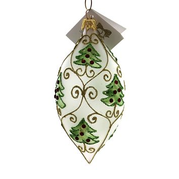 Golden Bell Collection Tear Drop With Jeweled Trees Glass Ornament