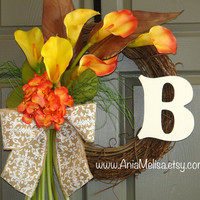 fall wreath autumn wreaths monogram wreaths personalized hydrangea fall wreaths front storm door calla lily burlap bow wreaths