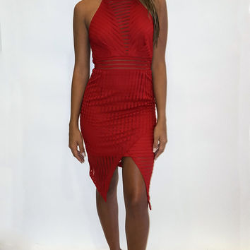 Fine Lines Dress - Red