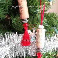 Wine Cork ornament set of two, red or green tassel ornaments