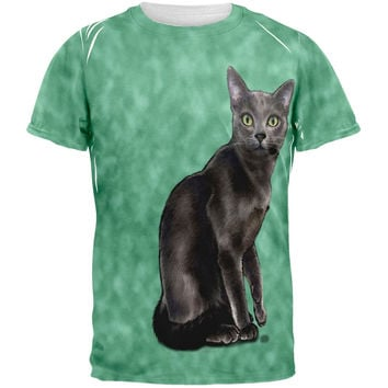Green Eyed Grey Kitty Tie Dye All Over Adult T-Shirt