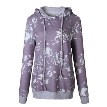 Purple Hooded Printed sweater