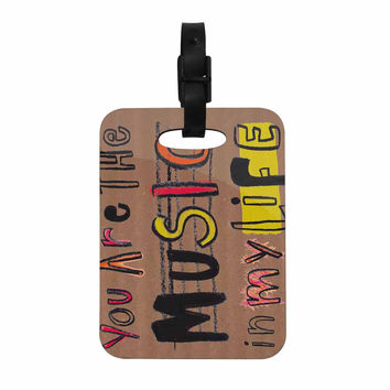 "MaJoBV ""Music In My Life"" Brown Quote Decorative Luggage Tag"