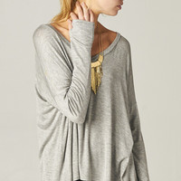 GRAY OVERSIZE TEE WITH THUMB HOLES   PUBLIK   Women's Clothing & Accessories